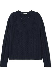 Jason Wu Cable Knit Sweater Navy