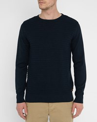 Knowledge Cotton Apparel Navy Textured Organic Cotton Round Neck Sweater Blue