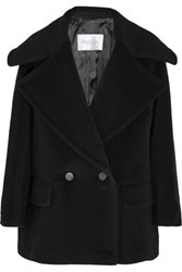 Max Mara Double Breasted Wool And Cashmere Blend Coat Black