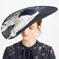 Bundle Maclaren Millinery Annie Large Disc Occasion Hat Navy Ivory