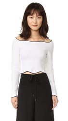Cedric Charlier Cropped Long Sleeve Sweater Fantasy Print White