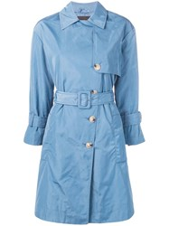 Emporio Armani Double Breasted Trench Coat Blue