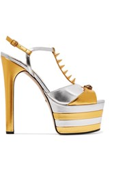 Gucci Studded Two Tone Metallic Leather Platform Sandals Gold