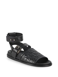 Balmain Achille Quilted Leather Sandals White