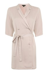 Topshop Satin Double Breasted Wrap Dress Putty