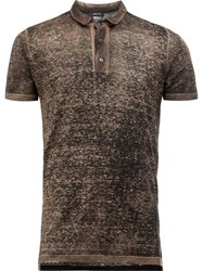Avant Toi Distressed Knit Polo Shirt Green