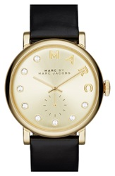 Marc By Marc Jacobs 'Baker' Crystal Index Leather Strap Watch 36Mm Black Gold