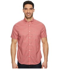 Nautica Short Sleeve Wear To Work Small Plaid Woven Shirt Spiced Coral Short Sleeve Button Up Orange