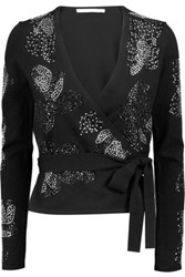Diane Von Furstenberg Studded Wool Blend Wrap Cardigan Black