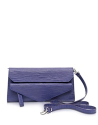 Francesco Biasia Kenton Leather Clutch W Shoulder Strap Purple