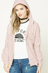 Forever 21 Drawstring Hood Windbreaker Light Pink