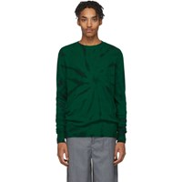 The Elder Statesman Green And Black Cashmere Tie Dye Sweater