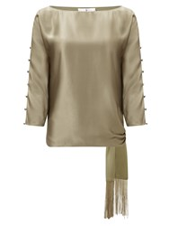 Jacques Vert Tie Side Fringed Top Green