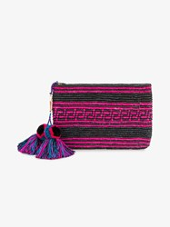 Yosuzi Woven Canvas Pouch With Pompom Tassels Black
