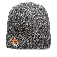Maison Kitsune Fox Beanie Ecru And Black