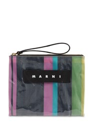 Marni Small Striped Canvas And Plastic Pouch Pink Candy