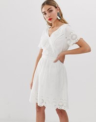 Only Broderie Anglais Mini Dress Cream
