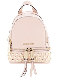 Michael Michael Kors Studded Backpack Women Calf Leather One Size Pink Purple