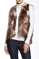 Romeo And Juliet Couture Cropped Faux Fur Vest Brown