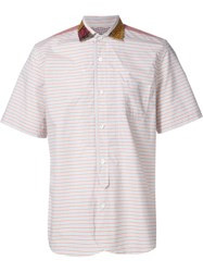 Junya Watanabe Comme Des Gara Ons Man Striped Shortsleeved Shirt Yellow And Orange