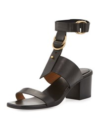 Chloe Kingsley Leather T Strap Sandal Black