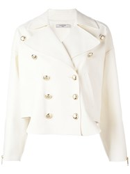 Lanvin Double Breasted Band Jacket White