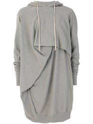 Rick Owens Drkshdw Draped Jersey Hoodie Cotton S Grey