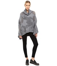Yohji Yamamoto Holey Dolman Sleeve Turtleneck Poncho Sweater Grey Women's Sweater Gray