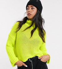 Noisy May High Neck Boxy Knitted Jumper In Neon Green