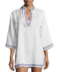 Tory Burch Embellished Linen Coverup Tunic White
