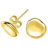 Dower And Hall Dimple Pebble Stud Earrings Gold