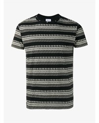 Saint Laurent Skeleton Print Cotton T Shirt Black White Denim