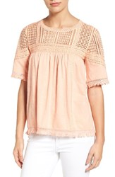 Caslonr Women's Caslon Fringed Lace And Knit Tee Coral Tide