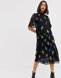 Lost Ink Maxi Tea Dress With High Neck With Embroidered Feather Detail Black