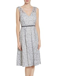 Gina Bacconi Enchanted Floral Metallic Embroidered Dress White Black
