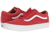 Vans Old Skool Premium Leather Racing Red True White Skate Shoes