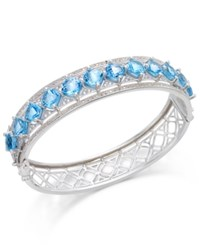 Macy's Blue Topaz 10 1 4 Ct. T.W. And White Topaz 1 4 Ct. T.W. Bangle Bracelet In Sterling Silver