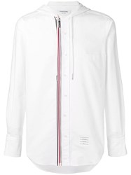 Thom Browne Hooded Zip Front Oxford Shirt White
