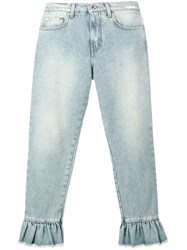 Msgm Ruffle Trimmed Cropped Jeans Blue