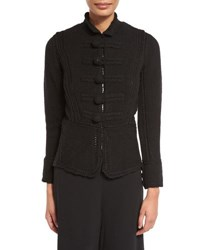 Stand Collar Military Sweater Jacket Black