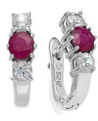 Macy's Sterling Silver Earrings Ruby 5 8 Ct. T.W. And White Sapphire 1 2 Ct. T.W. Three Stone Earrings