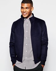 Reiss Wool Bomber Jacket Navy