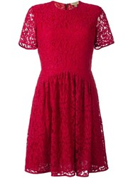 Burberry Fit And Flare Lace Dress Red