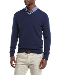 Neiman Marcus Cashmere Contrast Trim Sweater Navy