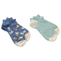 Fat Face Butterfly Trainer Socks Pack Of 2 Navy Mint