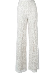Alice Olivia Alice Olivia Lace Overlay Wide Leg Palazzo Trousers Nude And Neutrals