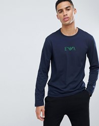 Emporio Armani Eva Eagle Logo Long Sleeve Lounge T Shirt In Navy