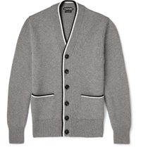 Tom Ford Stripe Edged Cashmere Cardigan Gray