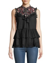 Kate Spade Camelia Embroidered Peplum Top Black