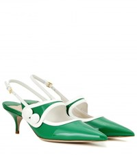 Miu Miu Patent Leather Slingback Kitten Heel Pumps Green